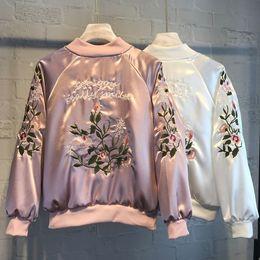 casacos flor menina Desconto 2018 Mulheres Jaqueta Bordado Marca Tops Flor Imprimir Menina Plus Size Casuais Camisola de beisebol Bomber Casaco de Mangas Compridas Jaquetas