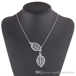 Wholesale Chunky Gold Necklace Wholesale - Pendant Fashion Charm Chunky Statement Bib Chain Choker Pendant Necklace Jewelry Simple Necklaces single layer leaves Leaf Chain Silver Gold