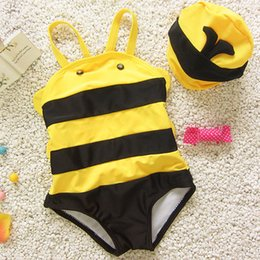 Wholesale Swimsuit Bee - Small Bee Baby Girls Swimwear Black Striped Yellow Two Piece Swimsuit Kids Bathing Suit Swimming Suits with Cap