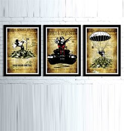 Wholesale Modern Art Oil Paintings - Alec Monopoly Banksy Inspired,3 Pieces Home Decor HD Printed Modern Art Painting on Canvas (Unframed Framed)