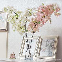 Canada 100 CM Long Artificielle Bouquet Simulation Fleur De Cerisier Fleur Blanc et Rose Disponible Pour La Maison De Mariage Décoration De Fournitures Offre