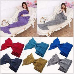 Wholesale Knit Throws Blankets - 16 Colors 195*95cm Crochet Mermaid Tail Blanket Handmade Mermaid Tail Blankets Knit Mermaid Blanket Mermaid Tail Sleeping Bag CCA5350 50pcs