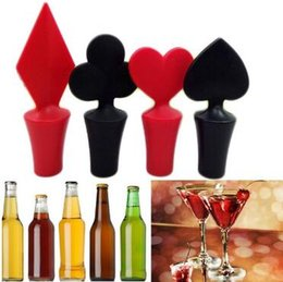 Wholesale Champagne Stoppers Wholesale - Poker Shaped Silicone Vacuum Sealed Wine Bottle Stopper Kitchen Wine Champagne Stopper Bar Tools CCA7169 200pcs