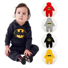Wholesale Thick Baby Costumes - Fleece Thick Baby Rompers Batman Boys Clothes Newborn Jumpsuits Infant Clothing Overall Bebe Roupas Costume Hooded Outfits Tops Bodysuits