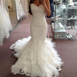 Wholesale Gown Beaded Corset - Vintage Beaded Lace Applique Mermaid Wedding Dresses 2017 Sweethart Court Train Ivory Tiered Tulle Corset Plus Size Bridal Gowns New Arrival