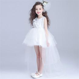 Wholesale Princess Dresses Age 12 - 2017 High Quality Bridal Flower Girl Dress party evening Children's white long trailing dress princess 3-12 age Children's Girl Dresses