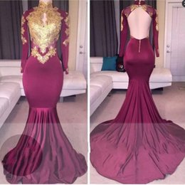 Wholesale hollow triangle - South African Burgundy Mermaid Prom Dresses Long High Neck Hollow Out Backless Long Sleeves Evening Dress Gold Appliques Sexy Party Dress