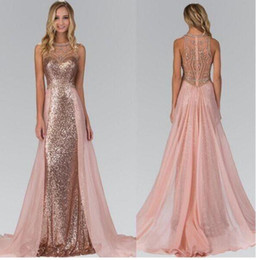 Wholesale Chic Wear - 2017 Chic Rose Gold Sequins Chiffon Crystal A-Line Prom Dresses Party Evening Wear Over Skirt Luxury Beaded Pageant Gowns