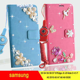 Wholesale S3 Leather Diamond - Rhinestone Diamond Luxury Cover Case For Samsung Galaxy S3 i9300 S4 i9500 S5 S6 S7 J3 J5 Note3 4 5 7 A3 A5 A8 2016 Cover