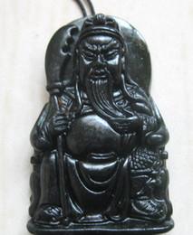 Wholesale Guan Yu Jade Pendant - 2017 NEW Beautiful xinjiang black jade hand engraving GUAN YU Pendants free shipping fashion jewelry black jade GUAN YU