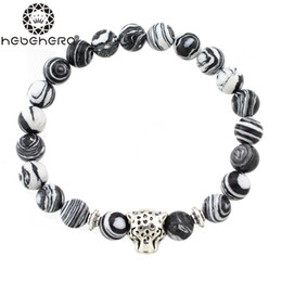 Wholesale Skeleton Head Bracelet - Wholesale- 2016 Classic Silver Bracelet Skeleton Lion Head Jasper Stone beads Bracelets Bangles Charm Gifts Men and Women Jewelry