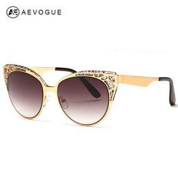 Wholesale mixed modeling - Wholesale-AEVOGUE Brand Design Cat Eye Sunglasses Women High Quality Metal Frame Openwork Mesh Modeling Sun Glasses Oculos UV400 AE0252