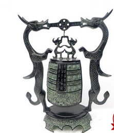 Wholesale Large Bell Decorations - Promotional large Ssangyong bronze bell open green copper Decoration Town house evil spirits home decoration