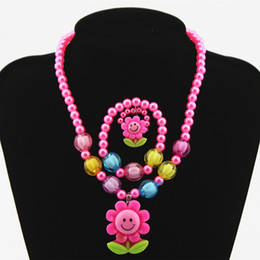 Wholesale Plastic Colour Ring - Candy Colour Beads Girl Kids Flowers Party Princess Jewelry Necklace Ring Children Holiday Gift Round beads Necklace bracelet Set C305