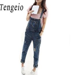Wholesale Jean Rompers - Wholesale- Tengeio Denim Overalls Women Romper One Piece Jeans Pants Halter Long Blue Jean Rompers Denim Jumpsuit Playsuits With Pocket