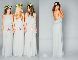 Wholesale Long Affordable Bridesmaid Dresses - 2017 Sage Cute and Affordable Mumu Boho Bridesmaid Dresses Elegant Two Pieces Cheap Long Split Wedding Party Guest Country Bridesmaid Gowns