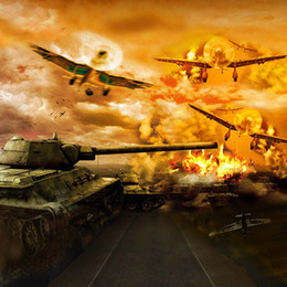 Wholesale Aircraft Cloth - War Theme Photography Backdrops Vinyl Cloth Aircraft Fighters Tanks Children Kids Photographic Background Studio Wallpaper Props