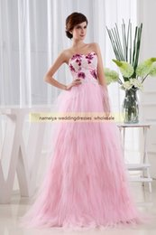 Wholesale Make Up Brush Purple 16 - Candy Pink Ball Gown Strapless Lace-up Sweep Train Brush Train Sleeveless Ruffles,Applique,Sequins Evening Dresses