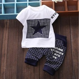 Wholesale Children Clothing Boys Star - JY-151 Baby boy clothes summer children clothing sets t-shirt + pants suit clothing set star printed clothes newborn tracksuits