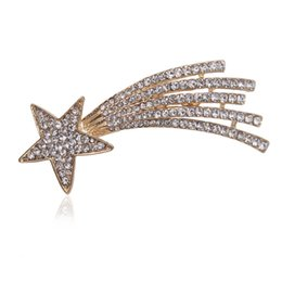 Wholesale Gold Metal Brooches - Wholesale- Crystal Rhinestone Meteor Brooch Pin Metal Shooting Star Women Costume Accessory Fashion Jewelry Gift 2017