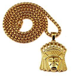 Oro indio 18k online-Sale Fashion Mens Hip Hop Jewelry Indian Chief Colgantes Collares de acero inoxidable 18k Gold Plated Punk HipHop Rock Rap Men Gold Chain Neckla
