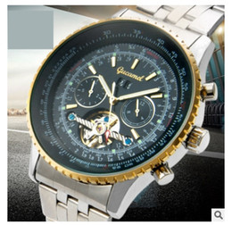 Wholesale High Quality Skeleton Watches - 2017 Luxury fashion brand automatic mechanical tourbillon skeleton watch with calendar high quality stainless steel mens business watches