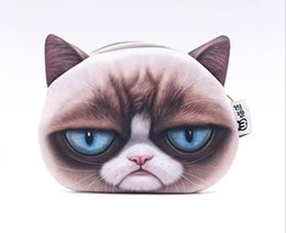 Wholesale Cat Shaped Purse - Custom made 3D designer printing mini size coin cute cat carton wallet small purse wholesale purse