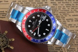 Wholesale Ii Tone - Men's Luxury Brand Automatic Self Wind Mechanical Stainless Steel Gold Silver 2 Tones GMT II Classic 40mm Red Blue Black Green Bezel Watch