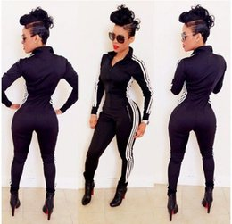 Wholesale Sports Tracksuits For Wholesale - 2016 new rompers jumpsuits for women bodycon jumpsuit romper womens playsuits fashion sport bodysuit skinny jogging suits tracksuit