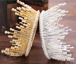 Wholesale Full Hairbands - 2017 new headpieces European full circle big crown bride pearl crown wedding accessories crown hair ornaments