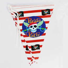 Wholesale Pennants Banner - Wholesale-Girl Boy Happy Birthday Party Decoration Kids Supplies Favors Pirate Theme Paper Pennant Banner 12 Flags 1Pack Length 280cm