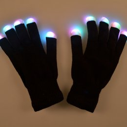 Wholesale Magic Finger Lights - Retail 7 Modes color changing flashing Led glove for KTV Party Finger Flashing Glow Flashing Fingertip Light LED Gloves Magic Gloves