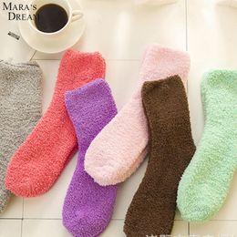 Wholesale Winter Sleeping Socks - Wholesale- Mara's Dream 12pairs lot Women Fuzzy Socks for Women Sock Winter Fluffy Doudou Material Thick Warm Fleece Sleep household Socks