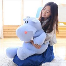 Wholesale Hippo Stuff - New Pop 80cm Giant Soft Cartoon Hippo Plush Toy Pillow Stuffed Animal Hippos Doll Baby Present