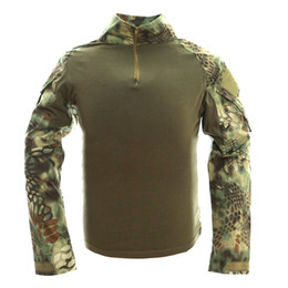 Wholesale Frog Combat Shirt - Camouflage Tactical Shirts uniform us army combat shirt cargo multicam Airsoft paintball tactical clothing Long Sleeve Frog Shirt