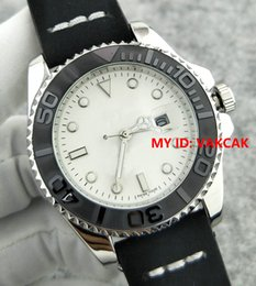 Wholesale Ceramic Sport Watch Men - Silver Black Leather bracelet Fashion 40mm Ceramic Bezel Mens Watch 116655 Sports Men top brand luxury Master Quartz watches autoamtic