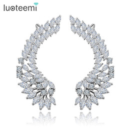 Wholesale Copper Shine - Silver Tone Korea Style Shining CZ Crystal Paved Big Angel Wings Stud Earrings for Women Wedding Brincos Jewelry LUOTEEMI
