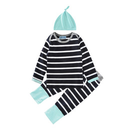 Wholesale Stylish Boys Clothes - Baby clothes baby young children's clothing market fall 2016 stripes three-piece suit stylish hat + T-shirt + pants suit children 40 pcs lot