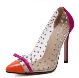 Wholesale Rivet Dress Plus Size - Rivets High Heels 2016 Summer New Transparencies High Heels Brand Shoes Pointed Toe Women Pumps Sapato Feminino Shoes Plus Size