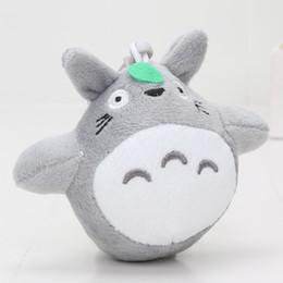 Wholesale Totoro Plush Wholesale - 4'' 10cm Japanese Anime Gray My Neighbor Totoro Plush Keychain Pendant Dolls Toys New Christmas Gift for Kids