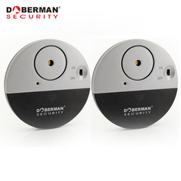 Wholesale Intruder Burglar Alarms - Wholesale- Doberman Security Door Window Vibration Alarm for Warning Burglars Intruders 2Pcs Pack Home Alarm 100dB Strong Alarm Sound