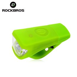 Atacado-ROCKBROS Gel de Sílica À Prova D 'Água Bicicleta Frente Light Bike Guiador Bicicleta USB Ciclo Equitação Recarregável Lâmpada Acessórios de Luz de