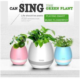 Wholesale White Led Flower Pots - Popular Smart Flowerpot Magic Music Plant Pot Creatives Touch Wireless Bluetooth Flowerpot Mini Subwoofer Speaker with LED Multiple Colors