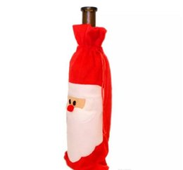 Wholesale Santa Claus Candles - Christmas Santa Claus Wine Bag Pleuche Mixed With Non Woven Wine Bottle Cover For Christmas Decorations