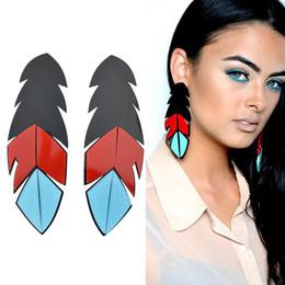 Wholesale Long Red Feather Earrings - New Long Earrings Punk Rock Style Geometric Earrings Black Red Blue Acrylic Feather Shape Earrings Fashion Brincos