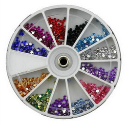 Wholesale Case Iphone Nail - 12colors round case Nail Shining Rhinestones Glitter Acrylic Nail Art Decoration 2.0mm stone For UV Gel iphone laptop DIY Nail Tools