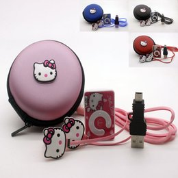 Wholesale Cheapest Music Player - Wholesale- Hot sale cheapest 100% New Band fashion mini clip hello Kitty music MP3 player support TF card with earphone and cable bag