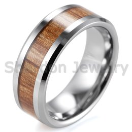 Wholesale Wood Inlay Rings - SHARDON 6mm 8mm Tungsten Carbide Rings with Beveled Edges and Real Zebra Wood Inlay Wedding Band