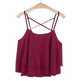 Wholesale Ruffles Shirt - Wholesale- 1PC 2016 Sexy Summer Vest Women Fashion Irregular Strap Floral Print Chiffon Ruffles Shirt Camisole Tops Casual Brand Camis New