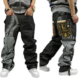 Wholesale Graffiti Harem Pants - Wholesale-2016 Loose hip hop jeans men printed jeans men straight trousers jeans Harem Pants hip-hop graffiti printing embroidery
